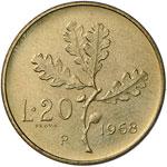 Repubblica italiana - 20 Lire 1968 Prova - ...