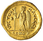 Giustino I (518-527) Solido – Busto elmato ...