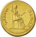 Tiberio (14-37) Aureo (Lugdunum) Testa ...