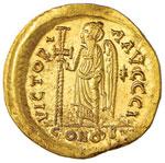 Anastasio (491-518) Solido – Busto elmato ...