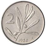 Repubblica italiana (1946-) 2 Lire 1958 – ...