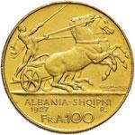 ALBANIA Zog (1925-1939) 100 Franga 1927 Una ...