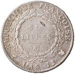 FRANCIA Convention (1792-1795) Ecu de 6 ...