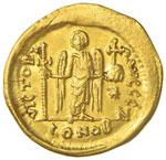 Giustino I (518-527) Solido - Busto elmato ...