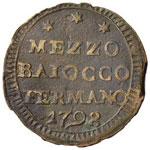 Pio VI (1774-1799) Fermo Mezzo baiocco 1798 ...