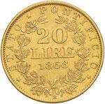 Pio IX (1846-1878) 20 Lire 1868 A. XXII - ...