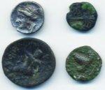 3 Monete greche in bronzo e una di Corinto ...