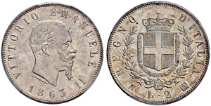 Vittorio Emanuele II. 1859-1878. 2 Lire ...