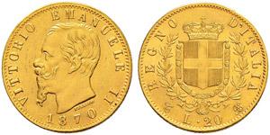 Vittorio Emanuele II. 1859-1878. 20 Lire ...