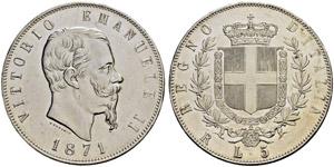 Vittorio Emanuele II. 1859-1878. 5 Lire ...