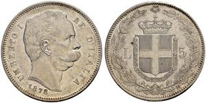 Umberto I. 1878-1900. 5 Lire 1878, Roma.  ...