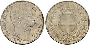 Umberto I. 1878-1900. 5 Lire 1879, Roma.  ...