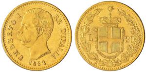 Umberto I. 1878-1900. 20 Lire 1882, 2 su 1, ...
