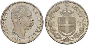 Umberto I. 1878-1900. 2 Lire 1883, Roma.  ...