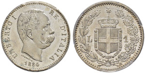 Umberto I. 1878-1900. 1 Lira 1884, Roma.  ...