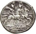 Anonime con simboli - Denario (211-170 a.C.) ...