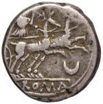 Anonime - Denario (143 a.C.) Testa di Roma a ...