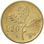 REPUBBLICA ITALIANA 20 Lire 1956 P in incuso ...