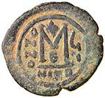 BISANZIO Maurizio Tiberio (582-602) Follis ...