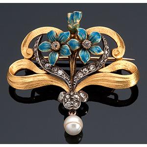 18K gold brooch, 19th Century; ; ...