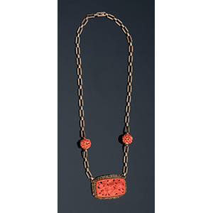 Inusuale collana Art Decò in oro ...