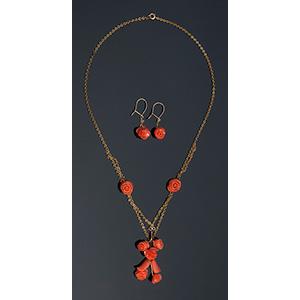 Set di collana e orecchini in oro ...