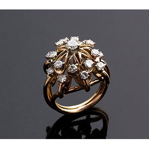 Vintage 18K gold diamond Ring - ...