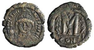 Justinian I (527-565). Æ 40 Nummi ...