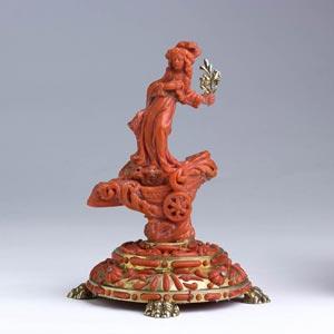 Saint Rosalie.  A carved coral ...