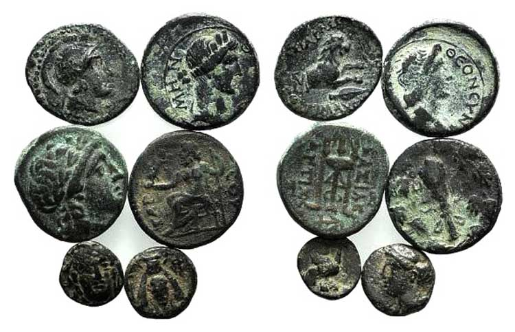 Lot of 6 Greek Æ coins, to be ...