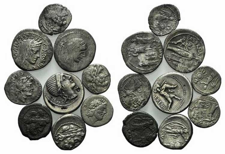 Lot of 9 AR Roman Republican ...