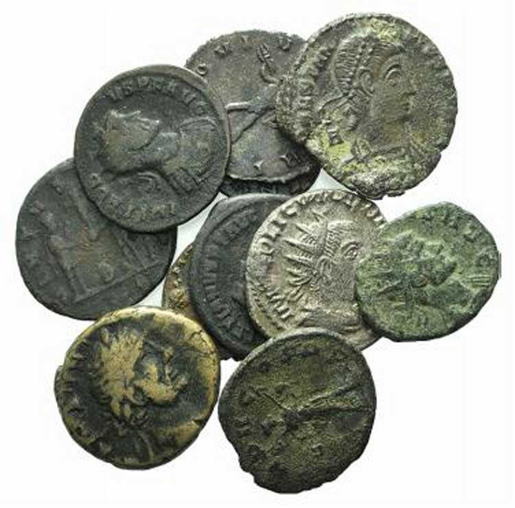Lot of 11 Æ late Roman Imperial ...