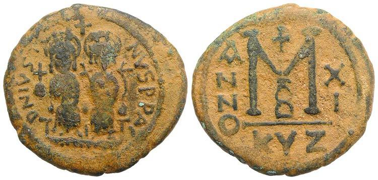 Justin II and Sophia (565-578). Æ ...