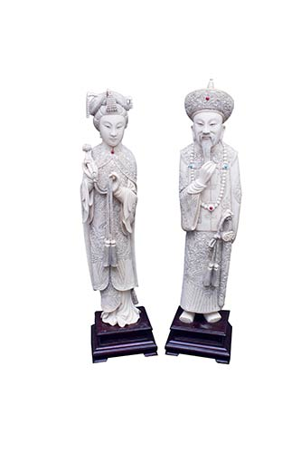 TWO HARDSTONE-INLAY IVORY CARVINGS ...