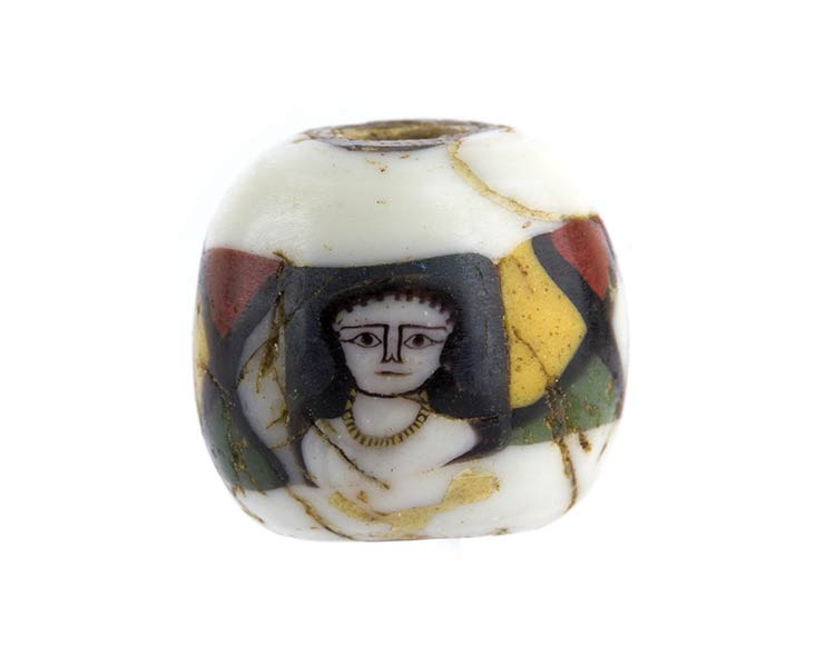 Egyptian Face Bead mosaic glass ...