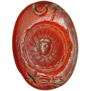 Corniola con simboli astrologici ...