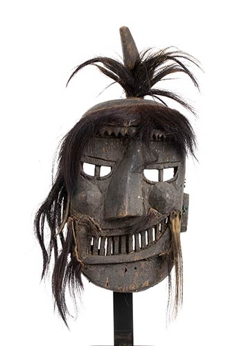 A WOOD AND HAIR MASK Borneo, Dayak ...