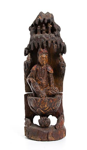 A PAINTED WOOD GUANYIN IN THE ...