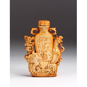 Carved ivory snuff bottle; XIX ...