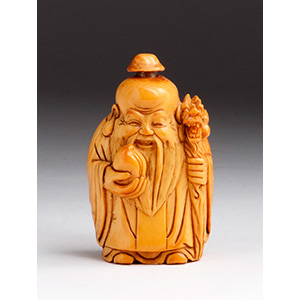 Carved Luohan, Ivory snuff bottle; ...