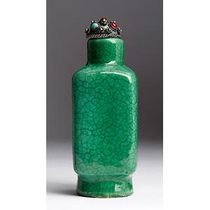 Painted porcelain snuff bottle; XX ...