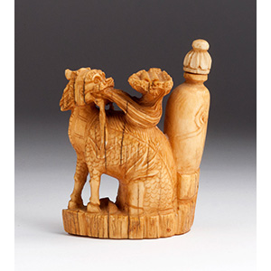 Carved Qilin with vase, Ivory ...
