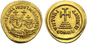 Eraclio con Costantino (610-641), Solido, ...