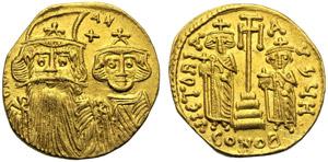 Costante II con Costantino IV, Eraclio e ...