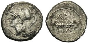 Apulia, Diobolo, Arpi, c. 215-212 a.C.; AR ...