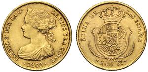 Spagna, Isabella II (1833-1868), 100 Reales, ...