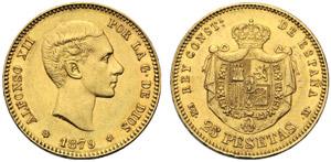 Spagna, Alfonso XII (1874-1885), 25 Pesetas, ...