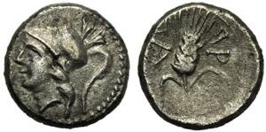 Apulia, Obolo, Arpi, c. 215-212 a.C.; AR (g ...