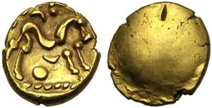Gallia, Ambiani, Statere, c. 65 a.C:; AV (g ...