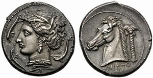 Dominio Punico, Tetradramma, Zecca incerta, ...